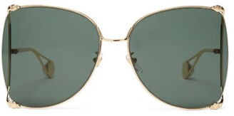 Gucci Oversized Butterfly Metal Sunglasses - Womens - Green
