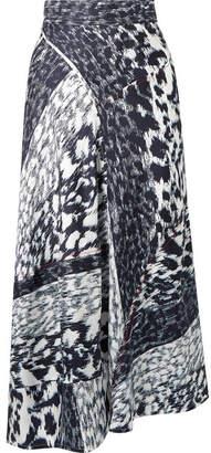 Victoria Beckham Leopard-print Silk-twill Midi Skirt - Navy