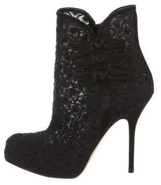 Christian Dior Lace Round-Toe Booties