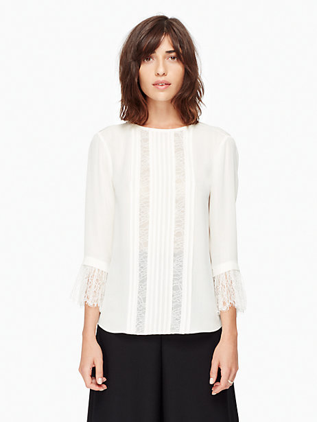 Lace inset silk top