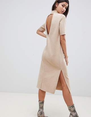 Asos DESIGN super soft midi t-shirt dress with open back
