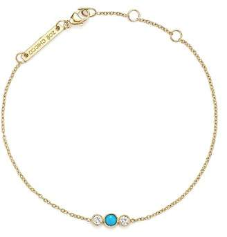 Chicco Zoë 14K Yellow Gold Bracelet with Bezel Set Turquoise and Diamonds