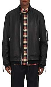 Public School MEN'S LEATHER OVERSIZED BOMBER JACKET-BLACK SIZE S