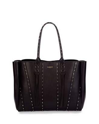Lanvin Medium Studded Leather Tote Bag w/ Fringe, Black $1,850 thestylecure.com
