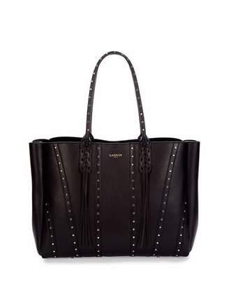 Lanvin Medium Studded Leather Tote Bag w/ Fringe, Black $1,850 thestylecure.com