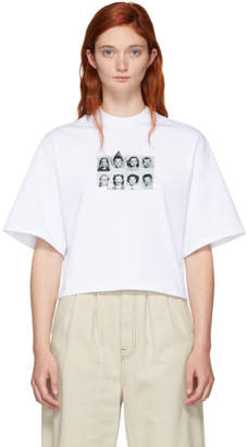 MSGM White Picture Cropped T-Shirt