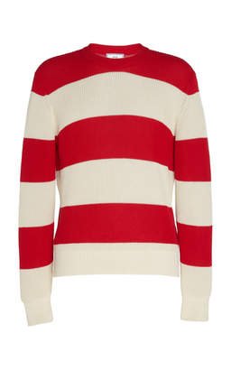 Ami Striped Cotton Fisherman Sweater