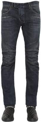 Balmain 17cm Biker Washed Cotton Denim Jeans