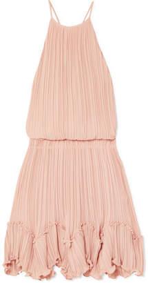 Halston Ruffled Plissé-georgette Mini Dress