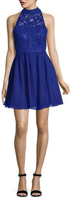 Speechless Sleeveless Skater Dress-Juniors