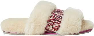 Dearfoams Women's Plush Slide Slippers with Woven Insert