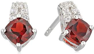 Sterling Silver Garnet And Lab Created White Sapphire Earrings