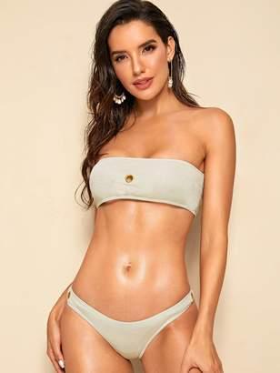 Shein Grommet Bandeau With High Cut Bikini Set