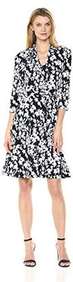 Sandra Darren Women's 1 Pc 3/4 Sleeve Floral Printed Ity Puff Faux Wrap Dress