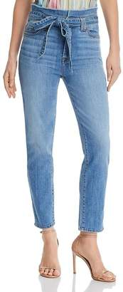 7 For All Mankind Roxanne Paper-Bag-Waist Skinny Jeans in Bright Bluejay