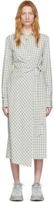 Tibi Green Check Elliot Cut-Out Wrap Dress