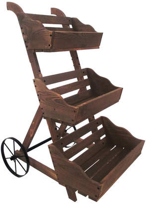 LeighCountry Charred 3 Tiered Wood Wheelbarrow Planter