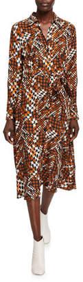 Equipment Relle Printed Long-Sleeve Midi Shirtdress