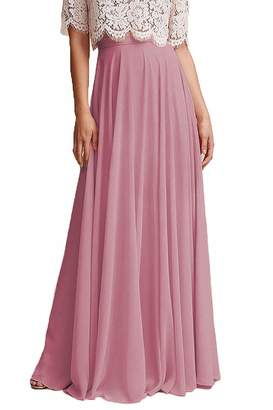 4c31a80237 Omleas Omelas Women Long Floor Length Chiffon High Waist Skirt Maxi  Bridesmaid Pary Dress (,