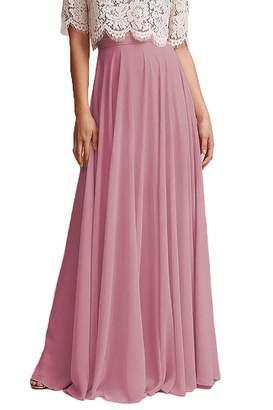 21b255dac539 Omleas Omelas Women Long Floor Length Chiffon High Waist Skirt Maxi  Bridesmaid Dress