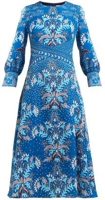Peter Pilotto Floral Print Waffle Weave Crepe Midi Dress - Womens - Blue Multi