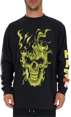 Heron Preston Fire Skull Print Crewneck Pullover