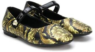 Versace patterned touch-strap ballerinas