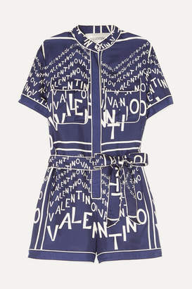 06b769ef3353 Valentino Printed Silk-twill Playsuit - Blue