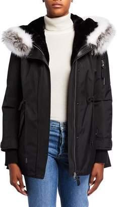 Derek Lam 10 Crosby Parka Anorak Coat with Detachable Fox Fur