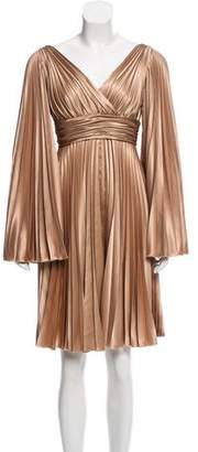 Elie Saab Long-Sleeve Pleated Dress