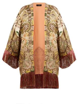 Etro Fringed Paisley Print Satin Kimono - Womens - Green Multi