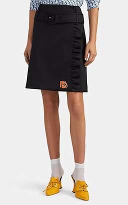 Prada Women's Logo Ruffle-Trimmed Belted Wrap Miniskirt - Black
