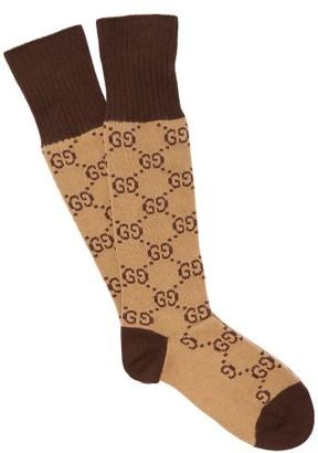 Gucci Gg Intarsia Cotton Blend Socks - Mens - Beige