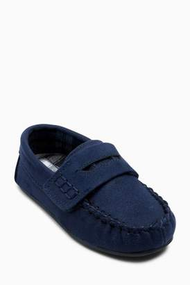 Next Boys Navy Moccasin Slippers (Younger)