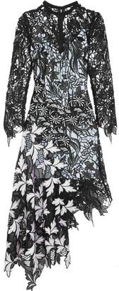 Self-Portrait - Vine Asymmetric Guipure Lace Midi Dress - Black $615 thestylecure.com