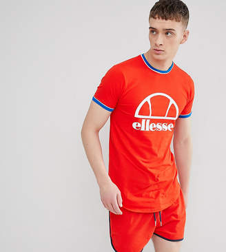 Ellesse Longline Muscle Fit T-Shirt With Logo In Red
