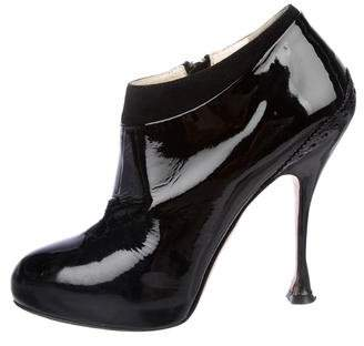 Brian Atwood Terry Patent Leather Ankle Bootie