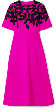 Oscar de la Renta Bead-embellished Embroidered Wool-blend Midi Dress - Fuchsia