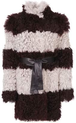 Drome furry detail striped coat