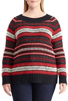 Chaps Plus Striped Crew Neck Sweater
