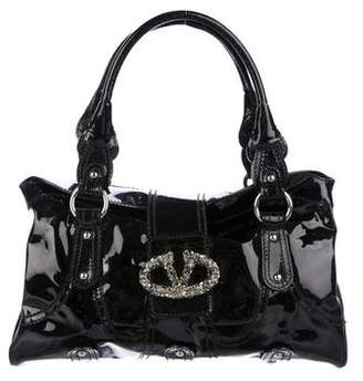 Valentino Crystal-Embellished Patent Leather Catch Bag