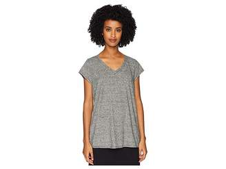 Eileen Fisher Hemp Organic Cotton Mini Stripe V-Neck Cap Sleeve Tee