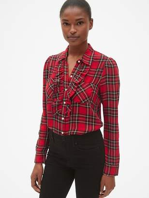 Gap Plaid Ruffle-Trim Pocket Shirt