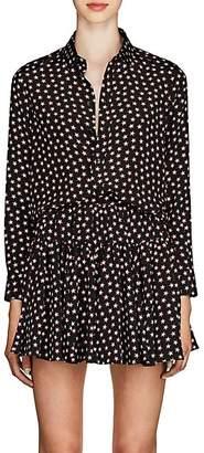 Saint Laurent Women's Star-Print Silk Blouse - Black