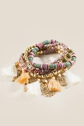 francesca's Harleigh Beaded Tassel Bracelet Set - Multi