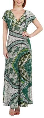 24/7 Comfort Apparel Women's Lena Short Sleeve Green Print Empire Waist Maxi Dress