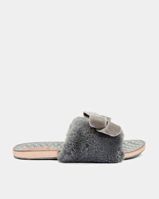 Ted Baker BLINGS Faux fur oversized bow slippers