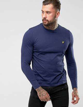 Lyle & Scott Long Sleeve Top Eagle Logo In Navy