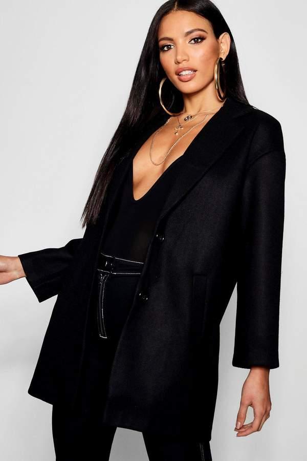 boohoo Button Through Collared Wool Look Coat