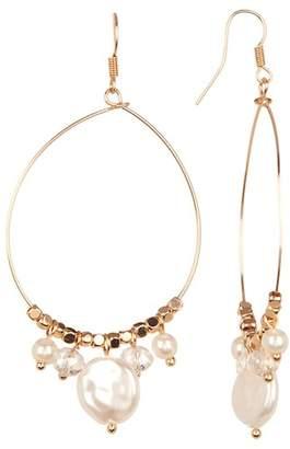 Joe Fresh Imitation Pearl & Glass Bead Accent Hoop Earrings